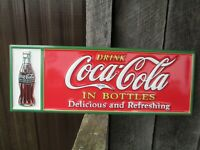 Coca-Cola Red Steel Sign with Christmas Coke Bottle Drink Coca-Cola In Bottles
