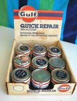 Vintage Gulf Oil Gas QUICK REPAIR WOOD FILLER Cardboard Display NOS W/ 9 Cans