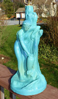 Lovely Van Briggle Art Pottery Figural Lamp Rebecca at the Well Turquoise Glaze