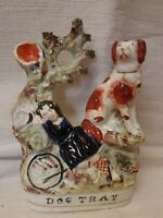 ANTIQUE STAFFORDSHIRE  FIGURINE  DOG TRAY