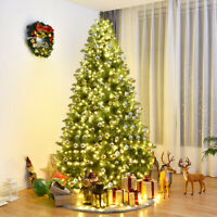8Ft Pre-Lit Dense PVC Christmas Tree Spruce Hinged with 880 LED Lights