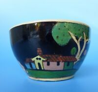 Vintage Mexican Tlaquepaque black tourist pottery bowl w/girl house 4 1/2