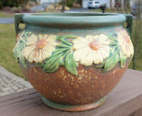 Lovely Antique Roseville Art Pottery Jardiniere Dahlrose 6""