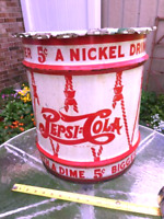 ANTIQUE PEPSI COLA SODA SYRUP DRUM ADVERTISING CAN METAL SIGN