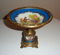 Antique French Porcelain & Brass Footed Pedestal Centerpiece Bowl Signed