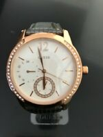 New Authentic Guess U0646L2 Rose gold tone stainless case leather strap watch