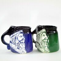 Vintage Santa Claus Mugs Pair Signed Flat Earth Pottery Christmas Coffee Soup