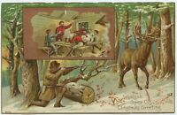 Christmas Greetings Winter Hunting Scene Victorian Trade Card Woolson Spice
