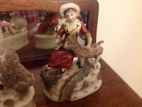 SUPERB PAIR: MID 19thC STAFFORDSHIRE SHEEP WITH Man & Women FIGURES c1860s