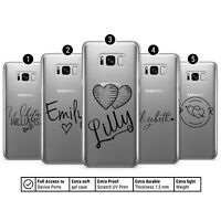 Transparent Phone Case Cover for SAMSUNG with Personalised Name and Hearts AA7 GBP 6.87