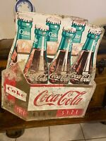"""1960s Coca Cola King Size Die-Cut Embossed 6-Pack Tin Sign - Coke Six Pack 36"""""""