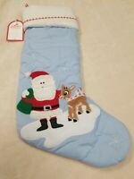 Pottery Barn Kids Holiday Santa & Rudolph Quilted Stocking NWT NO Monogram blue