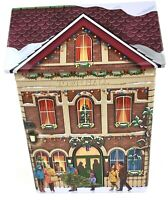 Town Hall Christmas Embossed Metal Tin House Building Village Container
