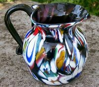 Vintage Italian Millefiori Art Glass Pitcher in Purple/Amethyst Hand-Blown