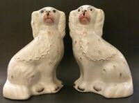 """Antique Pair Of Classic Porcelain Staffordshire Spaniel Dog Figurines 10"""" Tall"""