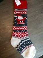 Pottery Barn Kids Christmas Natural Fair Isle Stocking Santa Red Cuff No Mono