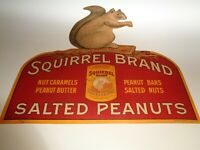VINTAGE SQUIRREL BRAND SALTED PEANUT, ADVERTISING SIGN, PAPERBOARD, NEAR PERFECT