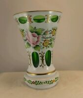 Bohemian Czech Glass Vase White Overlay Cut To Green Hand Painted vintage NICE