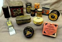 Lot /13 Eclectic ANTIQUE Vintage TINS & Container Collection Tobacco Spice Etc