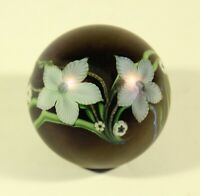 Vintage Orient And Flume Iridescent Lilly Flowers Paperweight Signed