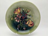 William Moorcroft Pottery Spring Flowers Plate Bowl Early Blue Signature 8-3/4