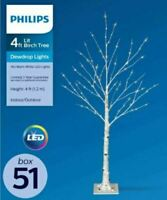 Philips 4ft Pre-lit Artificial Birch Twig Christmas Tree Warm White LED Dewdrop