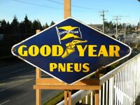 VINTAGE GOOD YEAR PNEUS PORCELAIN SIGN ~21-1/2