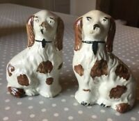 Staffordshire Dogs-pair Of Antique English Spaniels