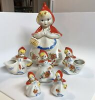 Vintage Hull Ware Little Red Riding Hood Cookie Jar 135889 Full Set 9 PIECES