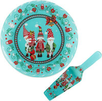 Christmas Gnomes Glass Serving Platter with Spatula