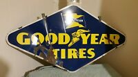 Vintage 1947 Goodyear Tires Porcelain Sign Double Sided Original