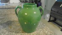 Antique York Pottery Double Handled  Vase Green Gloss 9.25