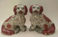 Nice Antique Pair Of Red & White Staffordshire Spanial Dogs, Separate Front Legs