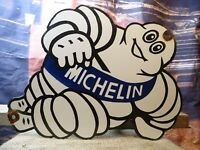 LARGE OLD VINTAGE MICHELIN MAN TIRES PORCELAIN ADVERTISING SIGN