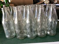 Lot of 22, Vintage Pepsi Cola 7 Fll Oz. Clear Glass Bottles Swirl Pattern,G COND