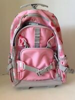 Pottery Barn Kids Rolling Backpack with Polka Dots Pink white red