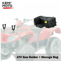 ATV Gun Holder Mount Rack + Rear Seat Rest Storage Pack Luggage Bag Cushion Pad
