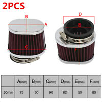 Pair Oval Scooter Moped Motorcycle ATV Air Filter Cleaner 50MM Flange 1.969in
