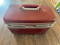 Vintage Red Samsonite Hard Shell Carry On Suitcase 15 X 10 X 8