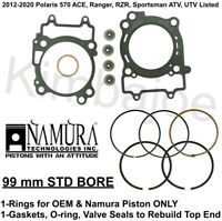 2012-2020 Polaris 570 ATV UTV Listed 99 mm STD BORE Rings Rebuild Gaskets
