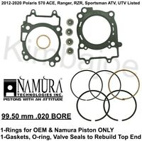2012-2020 Polaris 570 ATV UTV Listed 99.50 mm .020 BORE Rings Rebuild Gaskets