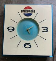 Vintage Pepsi Wall Clock with Blue Metallic Face - Runs, Price Brothers Inc.