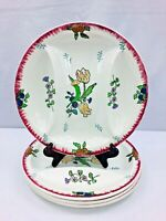 Vintage Longwy French Faience Marseille Pattern Asparagus Plates 4 Pc Set 10.75