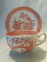 Antique Tea Cup Saucer Orange Red Willow Variant Transferware Chinoiserie 19th C