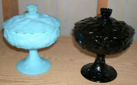 Lot of 2 Fenton Compote Pedestal Candy Dish Lidded Waterlily Black