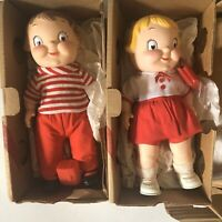 2 Campbell Soup Kid Dolls Mail Away Vinyl Boy & Girl Both w/Boxes 1971 Vintage