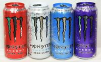 Monster Energy Drink Ultra Violet Blue Red Zero Lot of 4 single cans 16 oz New