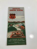 1950s PHILLIPS 66 Map CENTRAL UNITED STATES Route 66 Oklahoma Illinois Texas