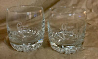 Crown Royal Whiskey Glasses Made in Italy NO PILLOW GLASS Set Of 2 Two RARE