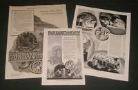 Fairbanks Morse Co, Lot of 3 Print Ads, Industrial Motors / Scales / Engines